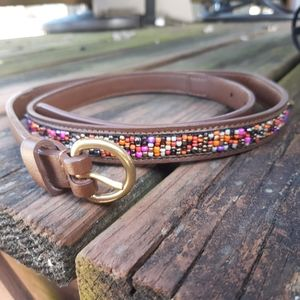 LIVE LOVE LOFT Colorful Beaded Leather Belt